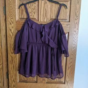 Plus purple open shoulder top